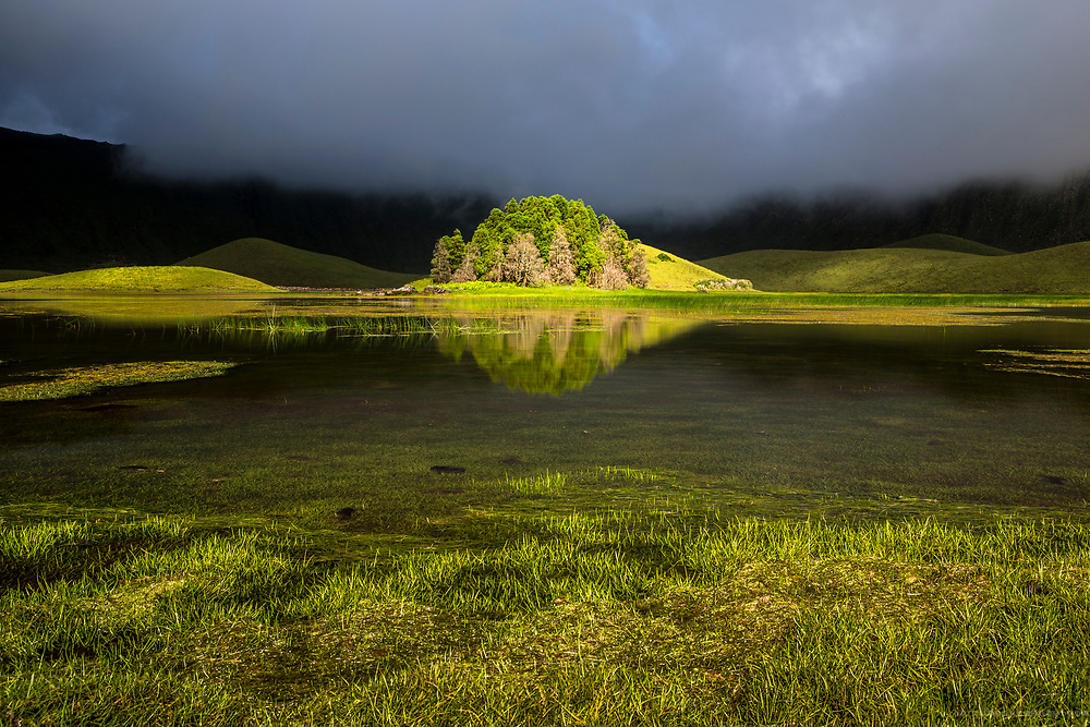 Island of trees reflected inside Corvo Caldera. Azores, Portugal