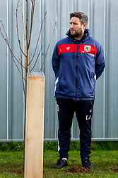 Lee Johnson looks on as Representatives of Bristol City take part in a ceremony to plant tree's in memory of the 7 Bristol City player's who lost their lives serving during WW1 - Rogan/JMP - 09/11/2018 - FOOTBALL - Failand Training Ground - Bristol, England.