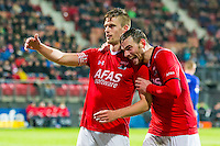 ALKMAAR - 20-02-2016, AZ - FC Groningen, AFAS Stadion, AZ speler Markus Henriksen, AZ speler Vincent Janssen.