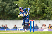 Scotland's Calum MacLeod plays a shot on the way to making his century during the One Day International match between Scotland and Afghanistan at The Grange Cricket Club, Edinburgh, Scotland on 10 May 2019.