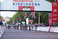 Jake Stewart crosses the line to win the Male Youth Race at the Prudential RideLondon FreeCycle, Saturday 1st August 2015. <br /> <br /> Prudential RideLondon is the world&rsquo;s greatest festival of cycling, involving 95,000+ cyclists &ndash; from Olympic champions to a free family fun ride - riding in five events over closed roads in London and Surrey over the weekend of 1st and 2nd August 2015. <br /> <br /> Photo: Paul Gregory<br /> <br /> See www.PrudentialRideLondon.co.uk for more.<br /> <br /> For further information: Penny Dain 07799 170433<br /> pennyd@ridelondon.co.uk