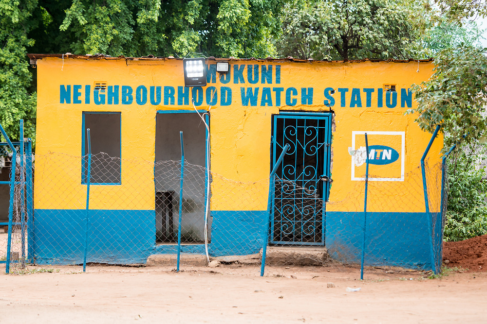 Front exterior Neighborhood Watch Station which is used as local jail, of Mukuni Village, Zambia