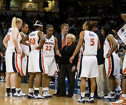 Virginia head coach Debbie Ryan talks to her team during a timeout.  The #11 ranked / #5 seed Old Dominion Lady Monarchs defeated the #24 ranked / #4 seed Virginia Cavaliers 88-85 in overtime in the second round of the 2008 NCAA Women's Basketball Championship at the Ted Constant Convocation Center in Norfolk, VA on March 25, 2008.