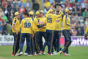 Hampshire celebrate Chris Woods run out of Tom Kohler-Cadmore during the NatWest T20 Blast Quarter Final match between Worcestershire County Cricket Club and Hampshire County Cricket Club at New Road, Worcester, United Kingdom on 14 August 2015. Photo by David Vokes.