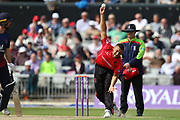 Leicestershire Foxes Ben Mike during the Royal London 1 Day Cup match between Lancashire County Cricket Club and Leicestershire County Cricket Club at the Emirates, Old Trafford, Manchester, United Kingdom on 28 April 2019.