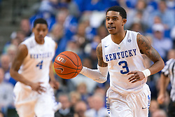 Kentucky guard Tyler Ulis, right, brings the ball up the floor in the second half.<br /> <br /> The University of Kentucky hosted the University of Georgia, Tuesday, Feb. 09, 2016 at Rupp Arena in Lexington .