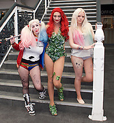 London Super Comic Con<br /> at Design Centre Islington, London, Great Britain <br /> 25th August 2017 <br /> <br /> General views <br /> and delegates in cos play costumes <br /> <br /> Claire Hart as Harlequin <br /> Claudia Piazza as Poison Ivy <br /> Mina Strand as Harlequin <br /> <br /> London Super Comic Con plays host to the latest comics, comic related memorabilia, superheroes and graphic novels fans have a chance to interact with their favourite creators, and  exhibitors showcasing items from comics to Cosplay, original art to toys.<br /> <br /> <br /> <br /> <br /> <br /> <br /> Photograph by Elliott Franks <br /> Image licensed to Elliott Franks Photography Services