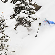 Keely Kelleher skiing blower powder in the Tetons.