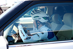 Lotta Lepistö (FIN) hides from the wind in the team car at Amgen Tour of California Women's Race empowered with SRAM 2019 - Stage 1, a 96.5 km road race in Ventura, United States on May 16, 2019. Photo by Sean Robinson/velofocus.com