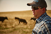 Western beef ranch manager, inspecting cattle on pasture, portrait