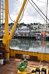No fishing sell out anti-Brexit banner, Newlyn harbour, Cornwall, UK. August 2018