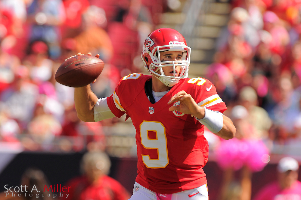 Kansas City Chiefs quarterback Brady Quinn (9) during the Chiefs game against the Tampa Bay Buccaneers at Raymond James Stadium  on Oct. 14, 2012 in Tampa, Florida. ..(SPECIAL TO FOXSPORTS.COM/Scott A. Miller)...