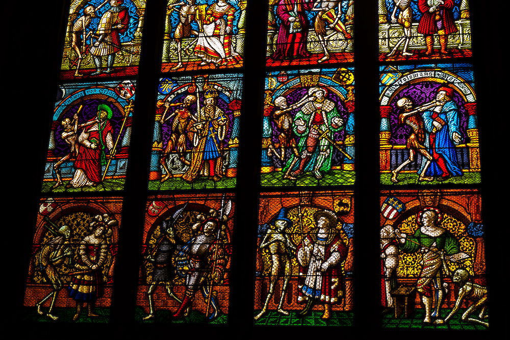 Interior view, Stained glass, Munster (Cathedral of Bern), Bern, Canton Bern, Switzerland