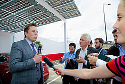 LONDON, ENGLAND - Saturday, June 7, 2014: Tesla Motors CEO & Chief Product Architect Elon Musk speaks to the media at the UK launch of Tesla Motors' Model S electric car at the Crystal. (Pic by David Rawcliffe/Propaganda)