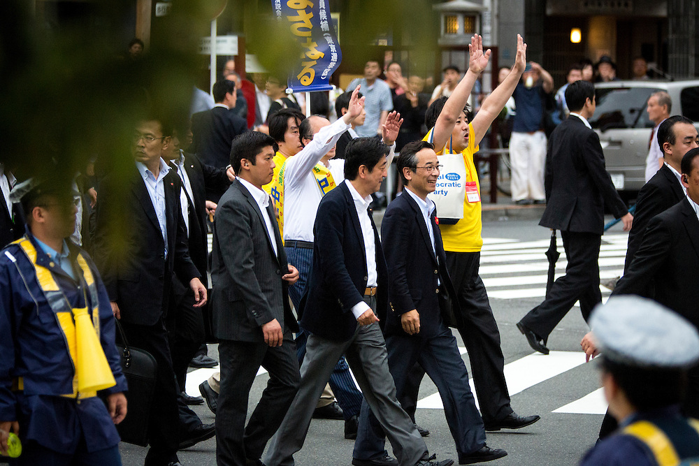 TOKYO, JAPAN - JULY 9 :  Japanese Prime Minister Shinzo Abe, president of the ruling Liberal Democratic Party (LDP) arrive in the venue to deliver speech and support his candidate Masaharu Nakagawa during the last day of Upper House election campaign outside of Asakusa Station in Tokyo, Japan on July 9, 2016. Tomorrow,  July 10, 2016 will be the first Upper house election nation-wide in Japan that 18 years old can vote after government law changes its voting age from 20 years old to 18 years old. (Photo by Richard Atrero de Guzman/NURPhoto)