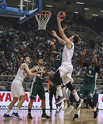 ATHENS, April 20, 2018  Luca Doncic (Top C) of Real Madrid goes up for a shot during the match between Panathinaikos and Real Madrid at basketball Euroleague playoff in Athens, Greece, on April 19, 2018. (Credit Image: © Lefteris Partsalis/Xinhua via ZUMA Wire)