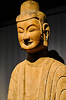 France, Paris (75), Musée Guimet, Bouddha méditant, Chine du Nord, Henan, grottes de Gongxian, 6e siecle // France, Paris, Guimet museum, Meditating Buddha, North China, Henan, Gongxian Caves, 6th century