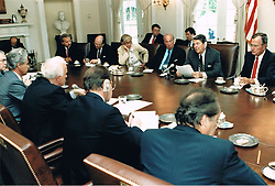 United States President Ronald Reagan meets with Soviet Foreign Minister Eduard Shevardnadze and other members of the Soviet delegation in the Cabinet Room of the White House in Washington, D.C. on September 15, 2014. Seated across from the President, from left, Yuriy Dubinin, Ambassador to the U.S.; Foreign Minister Shevardnadze; Viktor Karpov, Soviet Ambassador at Large; and Gennadi Gerasimov, Soviet Spokesman. Seated on the President's side of the table, from left, are: Kenneth Adelman, Director, U.S. Arms Control and Disarmament Agency; Jack Matlock, Ambassador to the U.S.S.R.; Ambassador Rozanne Ridgeway; U.S. Secretary of State George Schultz; the President; and U.S. Vice President George H.W. Bush.<br /> Mandatory Credit: Bill Fitz-Patrick / White House via CNP /ABACAPRESS.COM