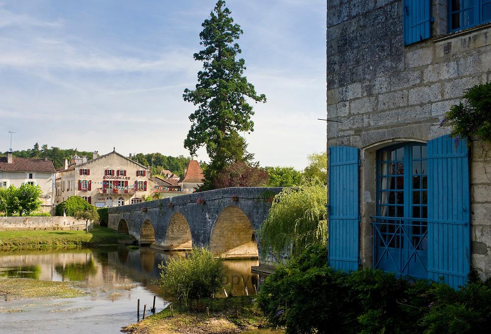 Quaint town of Bourdeilles, popular as a tourist destination near Brantome in Northern Dordogne, France