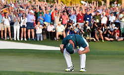 April 9, 2017 - Augusta, Georgia, USA - SERGIO GARCIA reacts as he wins the green jacket of a Masters champion following a one-hole playoff. (Credit Image: © Brant Sanderlin/TNS via ZUMA Wire)