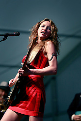 03 May 2013. New Orleans, Louisiana,  USA. .New Orleans Jazz and Heritage Festival. .Ana Popovic plays the Blues tent..Photo; Charlie Varley.