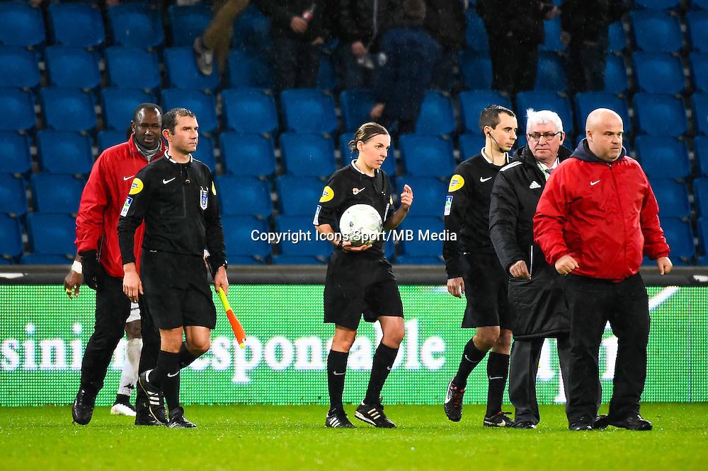 Regis GERBAUD / Stephanie FRAPPART / Bastien MELIQUE (escortes par la securite)  - 12.12.2014 - Le Havre / Laval - 17eme journee de Ligue 2 <br /> Photo : Fred Porcu / Icon Sport