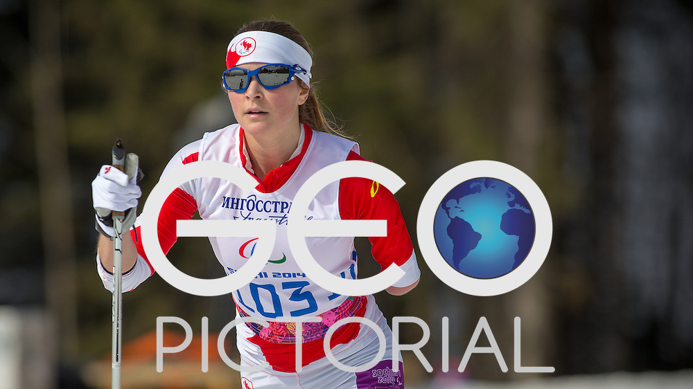 Cross-country Skiing: 2014 Sochi Winter Paralympics: Brittany Hudak of Canada competing in the women's 15km Standing Cross-Country Skiing at the Laura Cross-Country Ski and Biathlon Center, Sochi, Russia 10/03/2014;<br /> PHOTO CREDIT: &copy; George S Blonsky