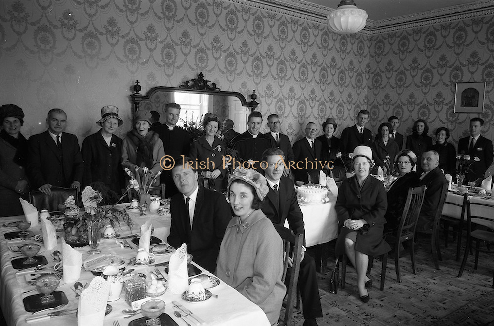 15/03/1964<br /> 03/15/1964<br /> 15 March 1964<br /> Fr Donal Sullivan, first Mass at St. Joseph's Vincentian Novitiate, Temple Road, Blackrock, Dublin. Picture shows reception held after the Mass.