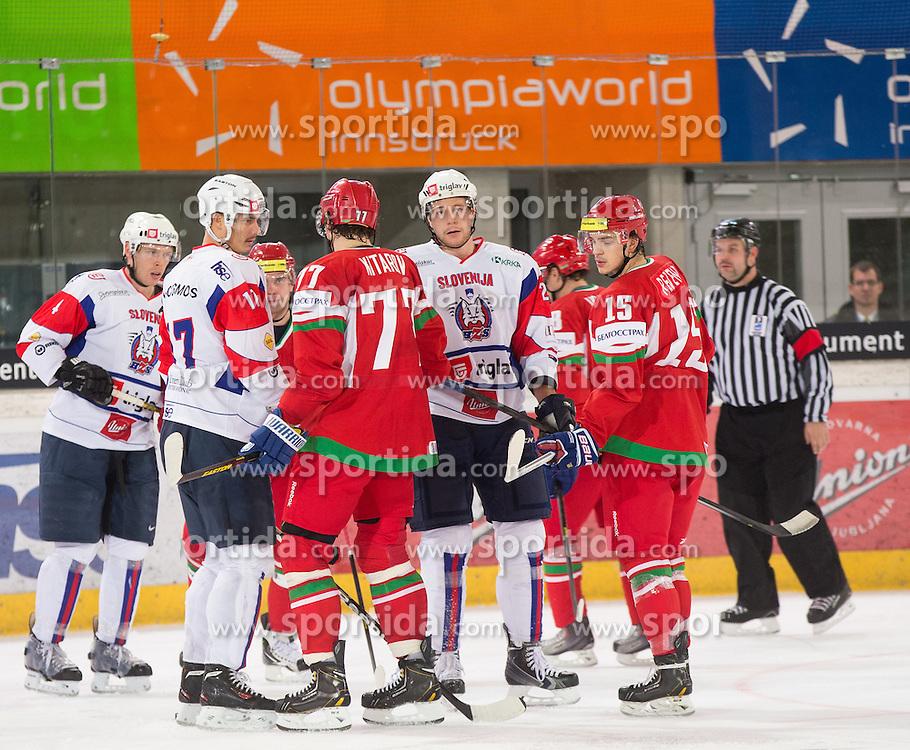 07.11.2013, Tiroler Wasserkraftarena, Innsbruck, AUT, IIHF, Euro Ice Hockey Challenge, Weisrussland vs Slovenien, im Bild Meinungsverschiedenheiten zwischen den beiden Mannschaften, Ziga Pavlin (SLO), Aleksandr Kitarov (BLR), Igor Revenko (BLR), Andrej Tavzelj (SLO), Gal Koren (SLO) // during the IIHF Euro Ice Hockey Challenge match between Belarus and Slovenia at the Tiroler Wasserkraftarena, Innsbruck, Austria on 2012/11/07. EXPA Pictures © 2013, PhotoCredit: EXPA/ Johann Groder