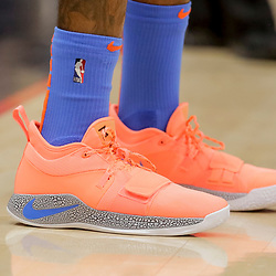 Dec 12, 2018; New Orleans, LA, USA; Shoes worn by Oklahoma City Thunder forward Paul George during the first quarter against the New Orleans Pelicans at the Smoothie King Center. Mandatory Credit: Derick E. Hingle-USA TODAY Sports