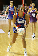 Angelina Yates looks to get the quick pass inside the circle during round 4 of the ANZ Netball Championship - Queensland Firebirds v Northern Mystics. Played at Brisbane Convention Centre. Firebirds (46) defeated the Mystics (40).  Photo: Warren Keir (SMP/Photosport).<br /> <br /> Use information: This image is intended for Editorial use only (e.g. news or commentary, print or electronic). Any commercial or promotional use requires additional clearance.
