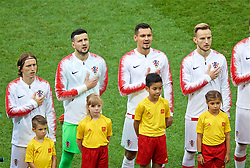 MOSCOW, RUSSIA - Sunday, July 15, 2018: Croatia's Dejan Lovren sings the national anthem before the FIFA World Cup Russia 2018 Final match between France and Croatia at the Luzhniki Stadium. (Pic by David Rawcliffe/Propaganda)
