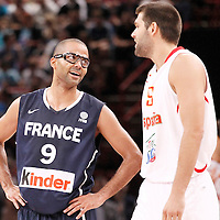 15 July 2012: Tony Parker of Team France is seen smiling during a pre-Olympic exhibition game won 75-70 by Spain over France, at the Palais Omnisports de Paris Bercy, in Paris, France.