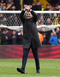Watford manager Javi Gracia celebrates victory after the FA Cup quarter final match at Vicarage Road, Watford.