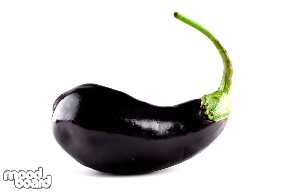 Aubergine on white background - close-up