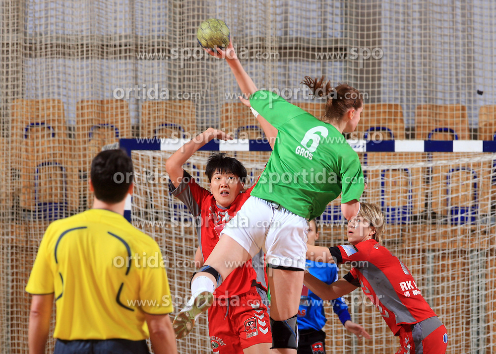 Ana Gros vs Ljudmila Bodnieva at Women Slovenian Handball Cup, finals match between RK Olimpija and RK Krim Mercator, on April 5, 2009, in Arena Tivoli, Ljubljana, Slovenia.  (Photo by Vid Ponikvar / Sportida)