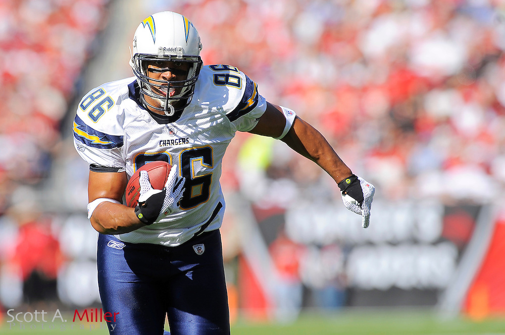 Dec. 21, 2008; Tampa, FL, USA; San Diego Chargers tight end Brandon Manumaleuna (86) during the Chargers 41-24 win over the Tampa Bay Buccaneers at Raymond James Stadium. ©2008 Scott A. Miller