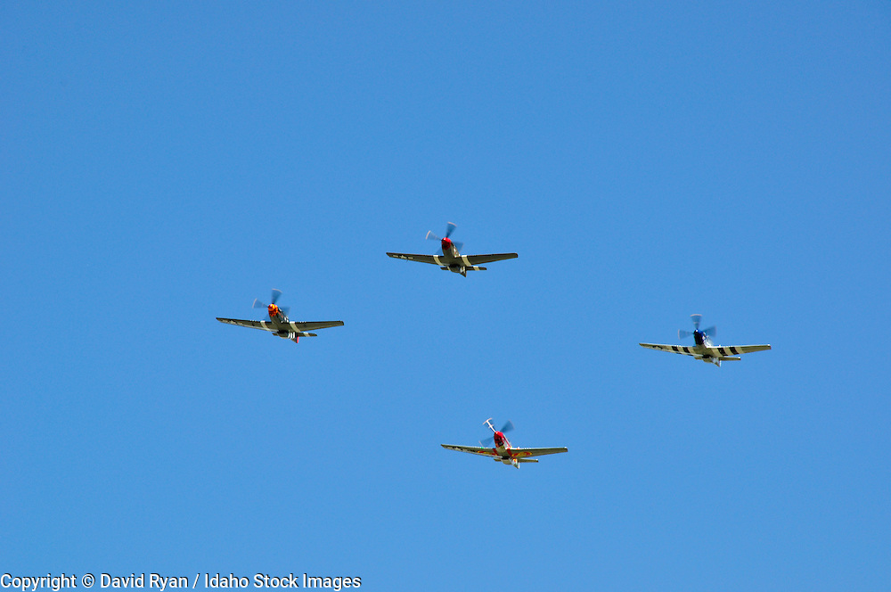 P-51 Mustangs flying over Nampa Municipal Airport