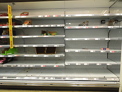 Panic buying causing shortages in supermarkets at the beginning of the Coronavirus pandemic in London, UK 2020