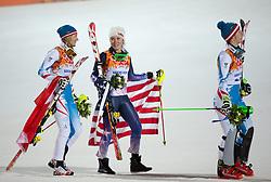 21.02.2014, Rosa Khutor Alpine Resort, Krasnaya Polyana, RUS, Sochi, 2014, Slalom, Damen, Flower Ceremonie, im Bild v.l.n.r. Silbermedaillen Gewinnerin Marlies Schild (AUT), Olympiasiegerin Mikaela Shiffrin (USA), Bronzemedaillen Gewinnerin Kathrin Zettel (AUT) // f.l.t.r.silver Medalist Marlies Schild of Austria, olympic Champion Mikaela Shiffrin of the USA, bronze Medalist Kathrin Zettel of Austria during the Flower Ceremony of ladies Slalom to the Olympic Winter Games Sochi 2014 at the Rosa Khutor Alpine Resort, Krasnaya Polyana, Russia on 2014/02/21. EXPA Pictures © 2014, PhotoCredit: EXPA/ Johann Groder
