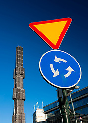 Landmark column and traffic sign at Sergels Torg Square in central Stockholm Sweden 2009