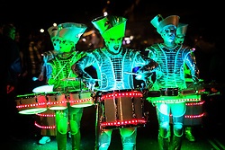 © Licensed to London News Pictures. 05/10/2017. Leeds UK. LED Drum group Sparks lead the Leeds Light Night Carnival parade through Leeds city centre on the first night of the Leeds Light Night event which runs until 6th October. Light Night is an annual free multi arts festival that takes place every October in Leeds City centre, starting in 2005, the event has grown and is now enjoyed by 80,000 people. Photo credit: Andrew McCaren/LNP