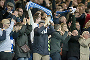 Huddersfield Town fans celebrate as their side score a goal and level the game 1-1 during the EFL Sky Bet Championship play off second leg match between Sheffield Wednesday and Huddersfield Town at Hillsborough, Sheffield, England on 17 May 2017. Photo by Mark P Doherty.