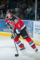 KELOWNA, CANADA - OCTOBER 7: Colten Martin #8 of Kelowna Rockets skates with the puck against the Swift Current Broncos on October 7, 2014 at Prospera Place in Kelowna, British Columbia, Canada.  (Photo by Marissa Baecker/Getty Images)  *** Local Caption *** Colten Martin;
