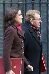 Downing Street, London, January 19th 2016. Northern Ireland Secretary  Theresa Villiers and Scottish Secretary David Mundell leave 10 Downing Street following the weekly cabinet meeting. ///FOR LICENCING CONTACT: paul@pauldaveycreative.co.uk TEL:+44 (0) 7966 016 296 or +44 (0) 20 8969 6875. ©2015 Paul R Davey. All rights reserved.
