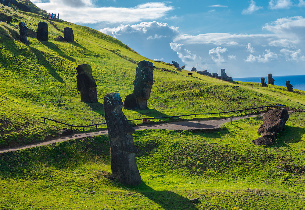 Moai statues and their shadows on Easter Island