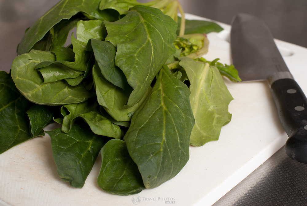 A close up of spinach grown in Japan at farms that are so far uncontaminated by TEPCO's Fukushima Nuclear Power Plant incident.