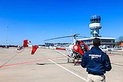 Nederland, Drenthe, Eelde, 01-05-2013; Groningen Airport Eelde,  de helikopter is aan het refueling.<br /> Helicopter taking avgas <br /> luchtfoto (toeslag op standard tarieven)<br /> aerial photo (additional fee required)<br /> copyright foto/photo Siebe Swart