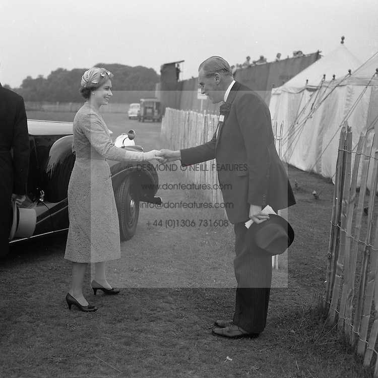 HM The Queen Elizabeth II and the GEOFFREY CROSS at polo, Windsor Great Park on 17th June 1958