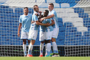 SS Lazio's Ravel Morrison scores and celebrates during the Pre-Season Friendly match between Brighton and Hove Albion and SS Lazio at the American Express Community Stadium, Brighton and Hove, England on 31 July 2016.